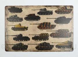 Nieuw gemaakte plaat met Wo2 Duitse tanks - 30 x 20 cm - nieuw