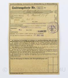 Wo2 Duitse Quittungskarte met zegels  uit 1939 - 21 x 14,5 cm - origineel