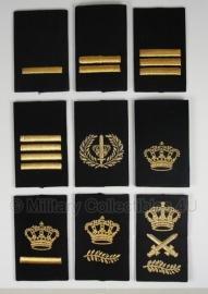 Politie set schouder schuifpassanten - zwart met goud - origineel