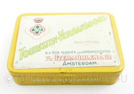 Vintage blik Touristen-Verbanddoos Klein model - NV Kon. Fabriek van Verbandstoffen v/h Utermohlen & co - 9 x 12 x 2,5 cm - gebruikt - origineel