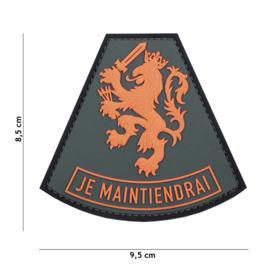 Embleem 3D PVC met klittenband - Nederland  JE MAINTIENDRAI - 9,5 x 8,5  cm.