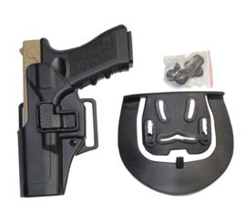 Quick Release holster Glock 17 dubbele bevestiging - LINKS - Zwart