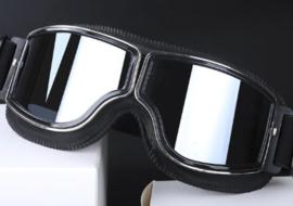Brommer bril - Zwart leder met donkere glazen