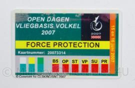 KLu Luchtmacht ID Force Protection open dagen Vliegbasis Volkel 2007 - afmeting 5 x 8,5 cm - origineel