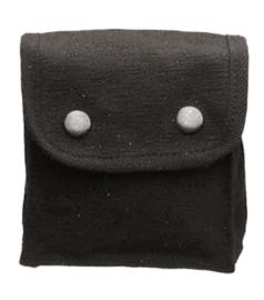 Belt pouch Koppeltas canvas met 2 drukkers - 15 x 12 x 6 cm. -  BLACK