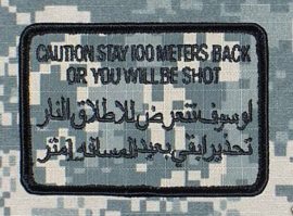 US Army Foliage patch - Caution stay 100 meters  back - met klittenband - voor ACU camo uniform - 9 x 6 cm - origineel