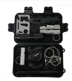 10 delige Survival kit met inhoud - variant 1 - BLACK