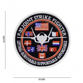 F-35 JOINT STRIKE FIGHTER  - stof - rond 10 cm. diameter