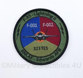 KLU Koninklijke Luchtmacht RNLAF F-35 - Lightning II 323 TES embleem - met klittenband - diameter 10 cm - origineel