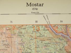 Mostar (574) topografische kaart 1:100 000 - 68,5 x 48,5 cm - origineel