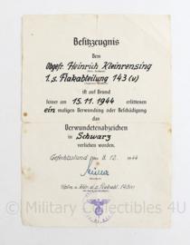 Wo2 Duitse originele oorkonde Verwundete Abzeichen Schwarz 1944 - Zeldzaam - 20 x 14 cm - origineel