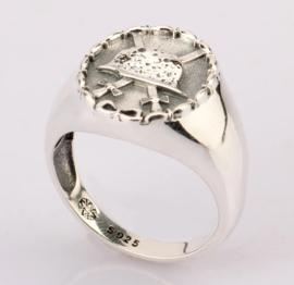 Verwundetenabzeichen ring - echt zilver - maat 8, 9 of 10