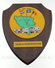 Wandbord Nederland België UN transportbattalion - 15 x 19 cm - Origineel