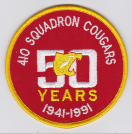Royal Canadian Air Force RCAF Patch - 50 years 410th squadron Cougars embleem - 9 cm diameter - origineel