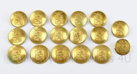 Knoop 26 mm mantel knoop met wapen en leeuw goudkleurig - set van 17 stuks  -  origineel