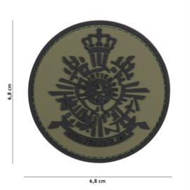 Embleem 3D PVC met klittenband - Korps Mariniers groen/zwart -  6,8 cm. diameter
