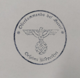 Duitse WO2 stempel (met moderne houder) Oberkommando des Heeres met Adelaar