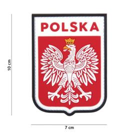 Embleem 3D PVC met klittenband - Polen Polska 7 x 10  cm.