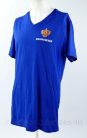 Brandweer shirt felblauw met logo op borst en rug - huidig model - maat Large - NIEUW - origineel