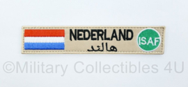 Naamlint Nederland ISAF - met klittenband - khaki - 14 x 3 cm - nieuw gemaakt