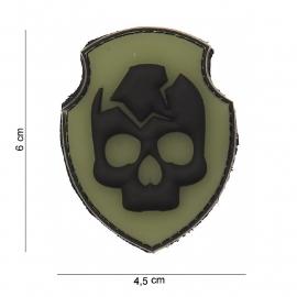 Embleem 3D PVC Ghost Skull - met klittenband - 6 x 4,5 cm