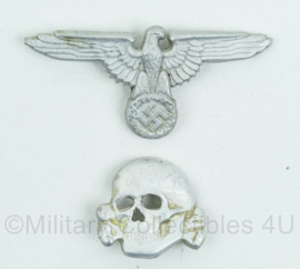 Schirmmütze set Waffen SS en Algemeine SS  - ALLUMINIUM - adelaar en doodskop - gestempeld en gedetailleerd!