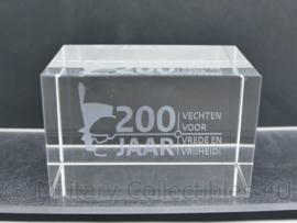 Zeldzaam glazen bureau decoratie 200 jaar vechten voor vrede en vrijheid  - 5 x 8 x 5 cm - zo goed als nieuw -  origineel