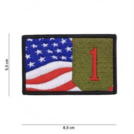 Embleem stof US 1st Infantry Division Big Red One - 8,5 x 5,5 cm.