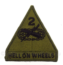 """US 2nd Armored Division Patch """"hell on wheels"""" - naoorlogs  - 11,5 x 9 cm - Origineel"""