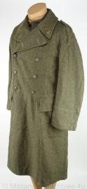 "Zweedse WO2 overjas Zweedse mantel Infanterie Regiment 12 ""Furir Lindbom 2e Komp""- maat 96 1941 - met insignes - origineel"