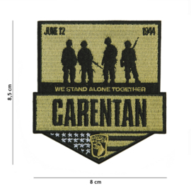 Embleem stof Carentan We stand Alone Together 101st Airborne Division June 6 1944 - 8,5 x 8 cm.
