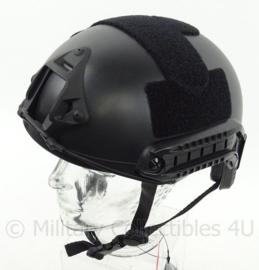 DSI en Politie model MICH 2002 helm met rails, nachtkijker houder en velcro  - BLACK
