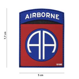 Embleem PVC 3D PVC  met klittenband - 82nd Airborne Division  - 7,7 x 5 cm.