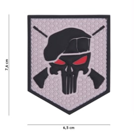 Embleem 3D PVC met klittenband - Punisher Commando Elite Grey - 7,6 x 6,5 cm.