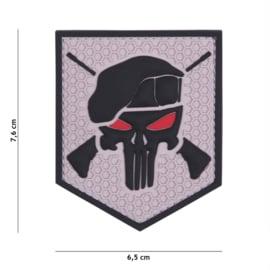 Embleem 3D PVC met klittenband - Punisher Commando Elite Grey - 7,6 x 6,5 cm.
