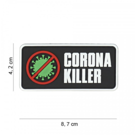 Embleem Corona Killer - met klittenband - 3D PVC - 8,7 x 4,2 cm