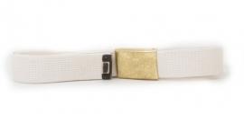 Broekriem wit webbing - met gouden metalen slot - meerdere maten - origineel BW Marine