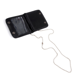 ID-kaart houder zwart met ketting klein - 9 x 7 cm