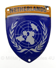 Netherlands UN/VN embleem tropen uitvoering - metaal - 5,5 x 7 cm - Origineel