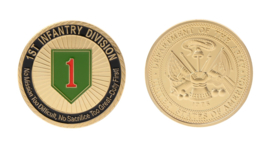 1st Infantry Division coin munt - No Mission Too Difficult, No Sacrifice Too Great - Duty First! - 3,8 cm diameter