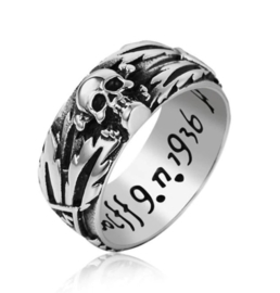 SS Ring SS totenkopf ring - officieel model - smal - replica - size 7 tm. 10