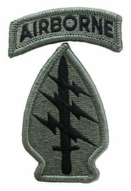 US Army Foliage patch - Special Forces met Airborne Tab - met klittenband - voor ACU camo uniform - origineel