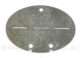 WO2 Duitse erkennungsmarke - Reserve Lazarett Frankenberg - persoonsnummer 18 - origineel