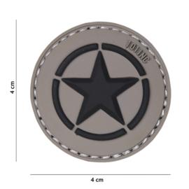 Embleem 3D PVC - met klittenband - US Invasion Star - Grijze achtergrond - 4 cm. diameter