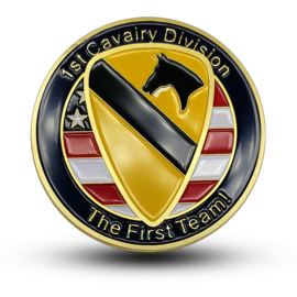 US 1st Cavalry Division coin - The first team! - 40 mm diameter