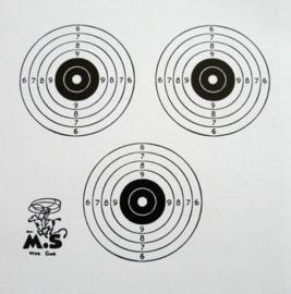 Schietkaarten 14x14 cm luchtbuks - 3 rozen - 250 stuks