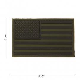 Uniform landsvlag USA  3D PVC Subdued - groen - met klittenband - 8 x 5  cm.