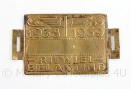 Nederlands fietsplaatje rijwielbelasting  1938 1939 - 5 ,5 x 3,5 cm - origineel