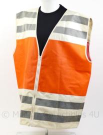 Inspectie reflectievest - met tekst op de rug - oranje wit met reflecterende strepen - origineel