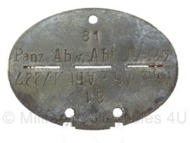 WO2 Duitse erkennungsmarke - Panzer Abwehr Abteilung 227 - persoonsnummer 81 - origineel